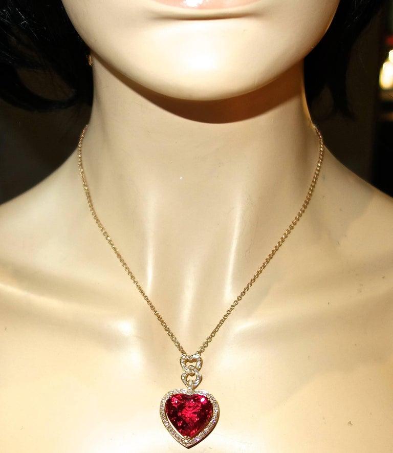 Women's or Men's Fine Rubelite and Diamond Pendant Necklace For Sale