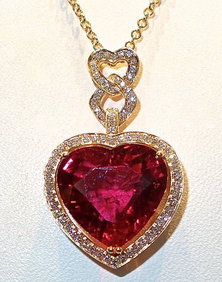 Fine Rubelite and Diamond Pendant Necklace For Sale 1
