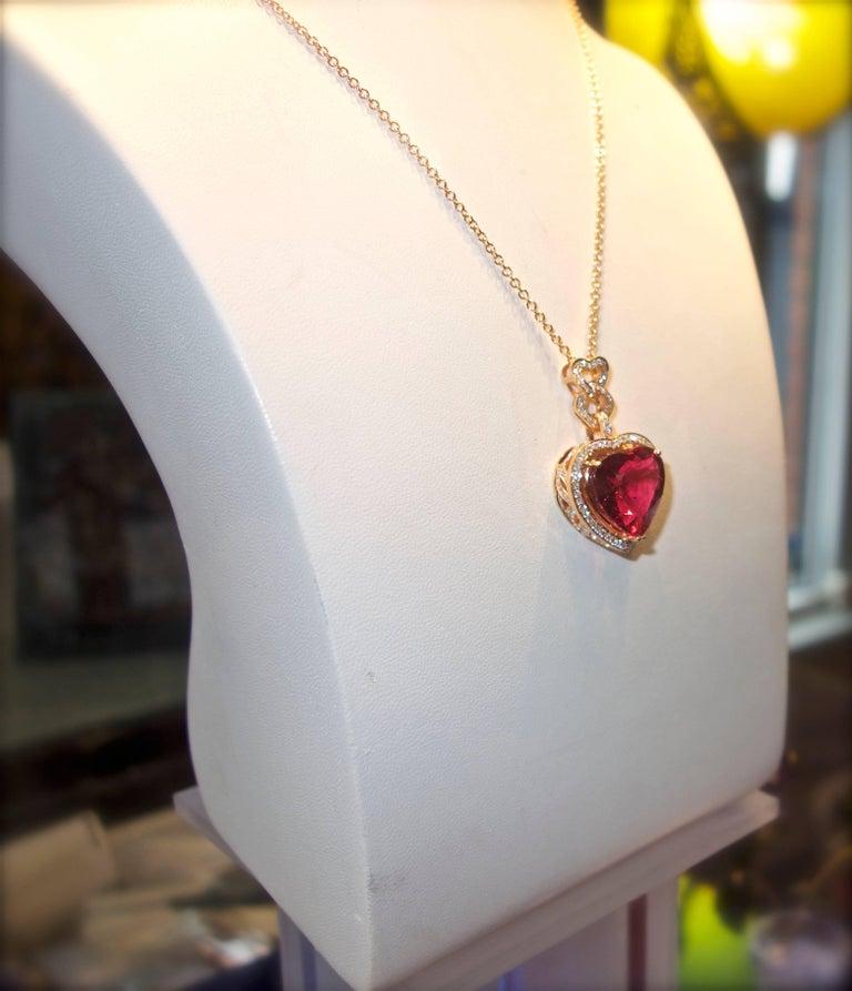 Fine Rubelite and Diamond Pendant Necklace For Sale 2