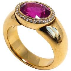 Fine Rubelite Diamond 18 Karat Rose Gold Ring