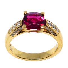 Fine Rubelite + Diamond 18 Karat Rose Gold Ring