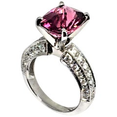Diamond Rubellite Ring Platinum 3.72 TCW Certified