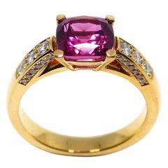 Fine Rubelite + Diamonds 18 Karat Rose Gold Ring