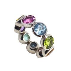 Fine Rubelite Tourmaline Aqua Peridot Beryl Citrine Amethyst 18K Gold Disco Ring