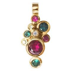 Leyser 18k Rose Gold Tourmaline, Rubelite & Diamond Pendant