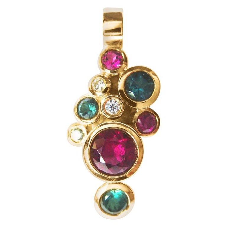 Leyser 18k Rose Gold Tourmaline, Rubelite & Diamond Pendant For Sale