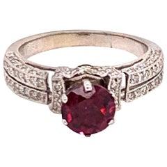 Diamond Rubellite Ring 14k Gold 1.38 TCW Women Certified