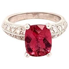 Diamond Rubellite Ring 14k Gold 4.10 TCW Women Certified