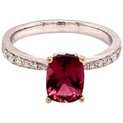 Diamond Rubellite Ring 18k Gold 1.58 TCW Women Certified