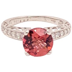 Diamond Platinum Rubellite Ring 2.20 TCW Certified