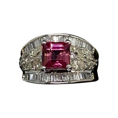 Fine Rubellite and Diamond 18 Karat 3.9 Carat Ladies Ring Certified