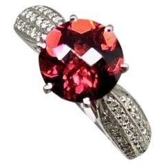 Diamond Platinum Rubellite Ring 2.43 TCW Certified
