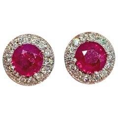 Diamond Ruby Earrings 14k Gold 1.46 TCW Certified
