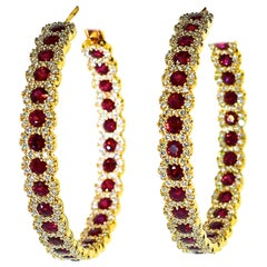Fine Ruby and Diamond Large Hoop-Earrings