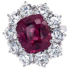 Fine Ruby and Diamond Ring 7.56 Carat in 18 Karat White Gold