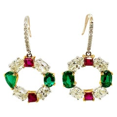 Natural Ruby, Emerald, and White Diamond Gold Earrings