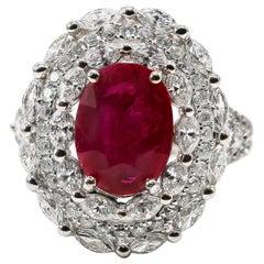Fine Ruby Ring 4.07 Carat with Diamonds 2.80 Carats F/VS 18 Karat Gold