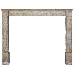 Fine Rustic Small French Limestone Antique Fireplace Surround