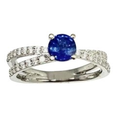 Diamond Sapphire Ring 18k Gold 0.98 TCW Certified