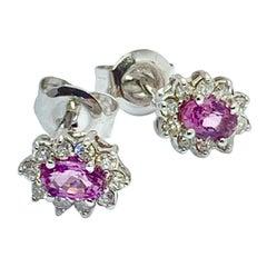 Diamond Sapphire Earrings 18k Gold Stud .90 CTW Certified