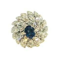 Fine Sapphire and Diamond 3.52 Carat 14 Karat Ladies Ring Certified