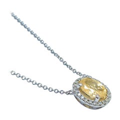 "Diamond Sapphire Necklace 18"" 18k Gold Certified"
