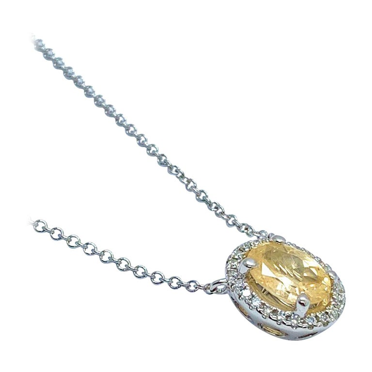 "Diamond Sapphire Necklace 18"" 18k Gold Certified  For Sale"