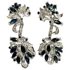 Fine Sapphire Diamond Palladium 2.9 Carat Drop Earrings Certified