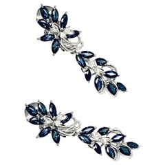 Diamond Sapphire Palladium Drop Earrings 3 TCW Certified