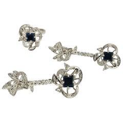 Fine Sapphire Diamond Palladium Ring Earrings Set 4.8 Carat Certified