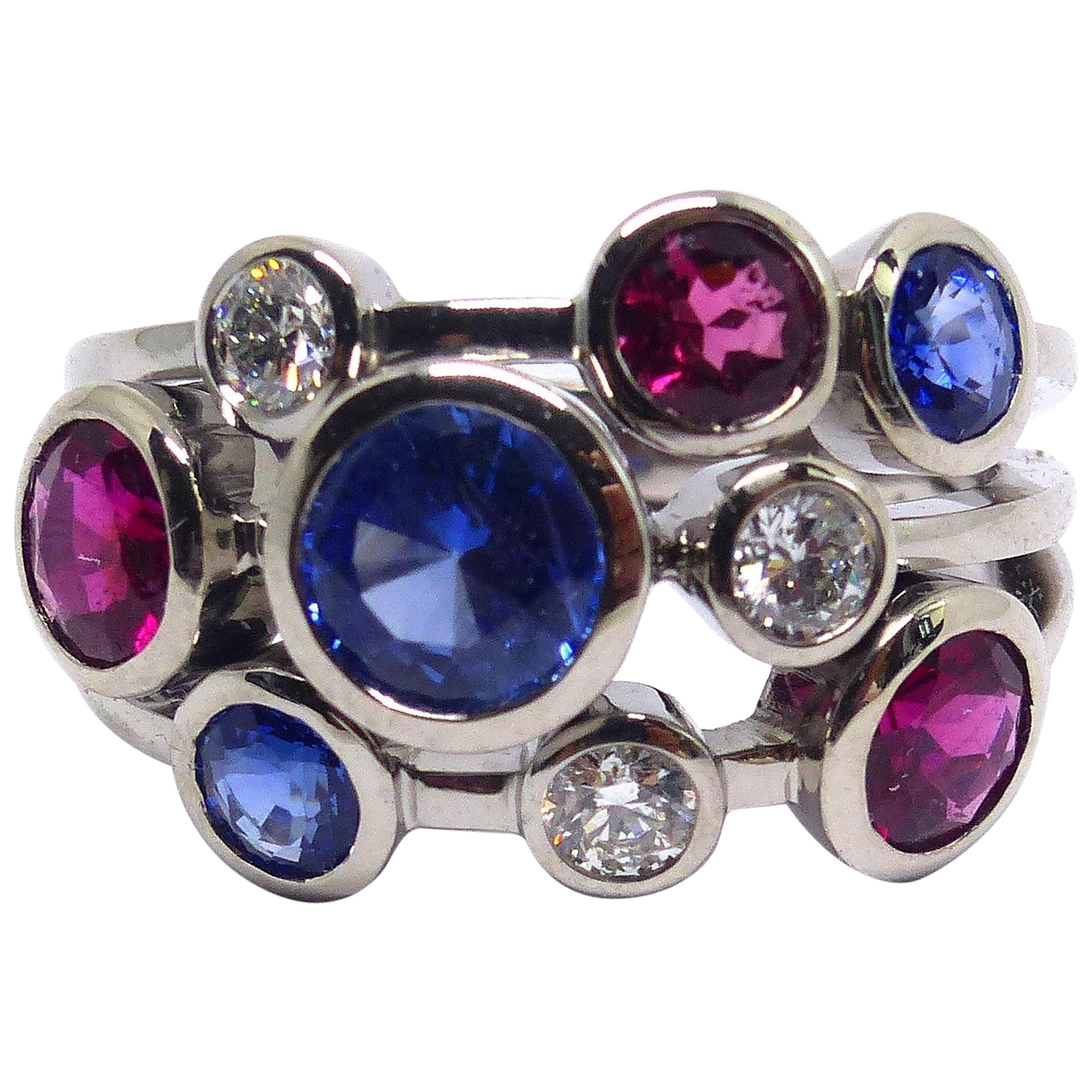 Leyser 18k White Gold Sapphire Rubelite Diamond Ring