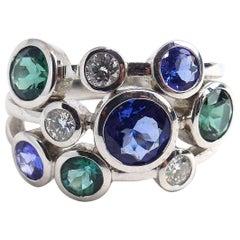 Leyser 18k White Gold Sapphire, Tourmaline & Diamond Ring