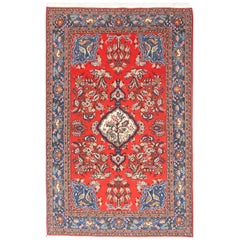 Fine Semi Antique Vintage Qum Persian Rug, Hand Knotted, circa 1930s