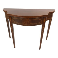 Fine Serpentine Flame Mahogany and Inlaid Console Table