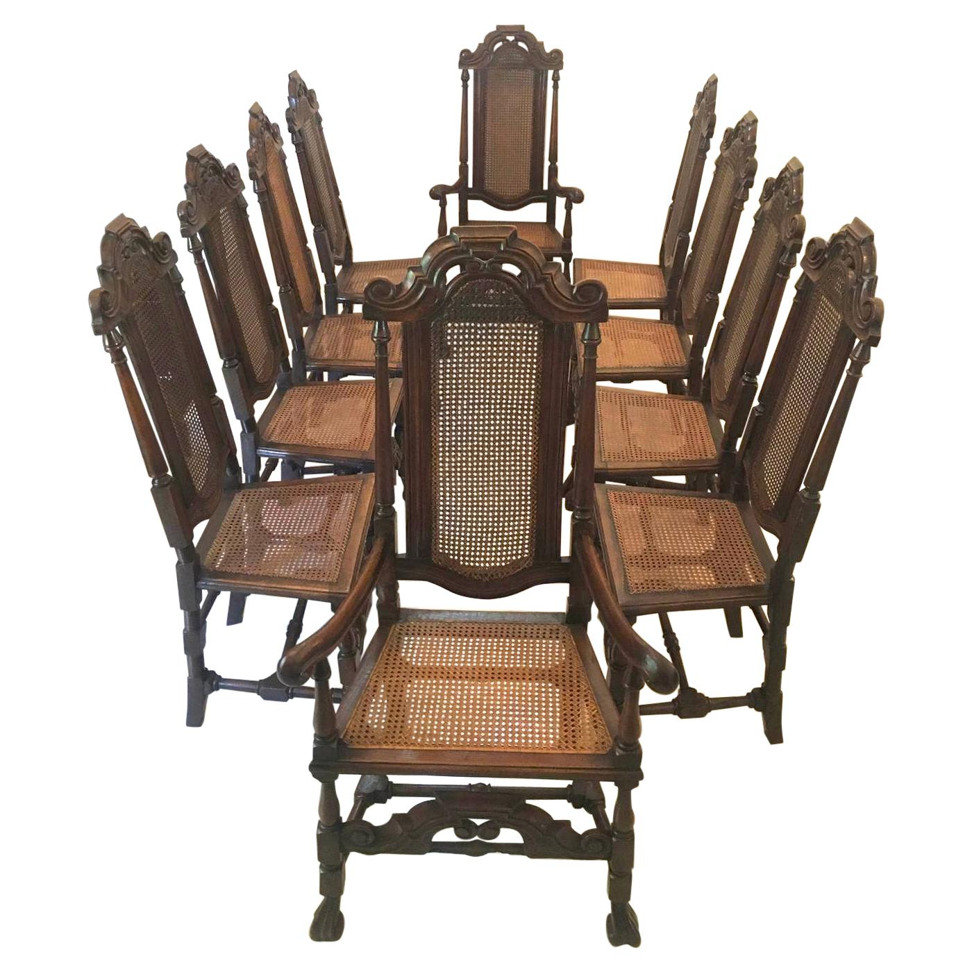 Fine Set of 10 Antique Carved Oak Carolean Style Chairs
