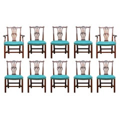Fine Set of 10 Carved Chippendale Style Dining Chairs