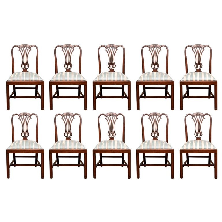 Fine Set of 10 Chippendale Style Mahogany Side Chairs For Sale
