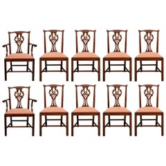 Fine Set of 10 Henkel-Harris Cherry Chippendale Style Dining Chairs