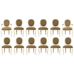 Fine Set of 12 Custom French Louis XVI Style Dining Room Chairs
