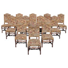 Fine Set of 12 French Louis XIII Style Os De Mouton Dining Chairs, 1900s