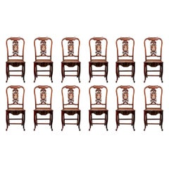 Fine Set of 12 Rosewood Side Chairs with Marble Medallions