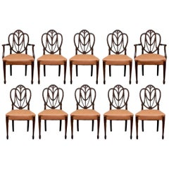 Fine Set of 12 Sheraton Style Mahogany Dining Chairs