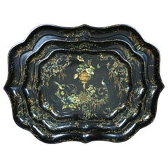 Fine Set of 3 Black and Gilt Graduated Papier Mâché Trays of Scalloped Form