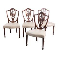 Fine Set of 4 Federal Hemplewhite Style Carved Wood Dining Chairs