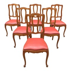 Fine Set of 6 French Vintage Louis XV Solid Walnut Dining Chairs, 1910s