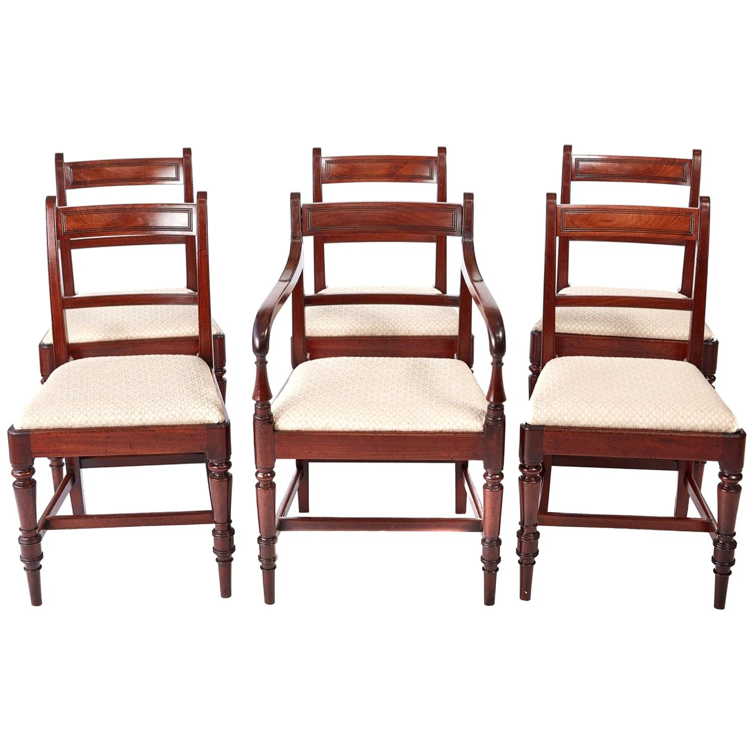 Fine Set of 6 George III Antique Mahogany Dining Chairs