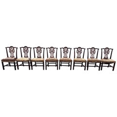 Fine Set of 8 18th Century Irish Chippendale Mahogany Chairs Needlepoint Seats