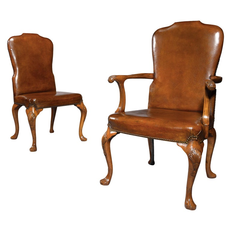 Fine Set of 8 '6 & 2' Generously Sized Antique Walnut and Leather Dining Chairs For Sale