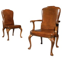Fine Set of 8 '6 & 2' Generously Sized Antique Walnut and Leather Dining Chairs