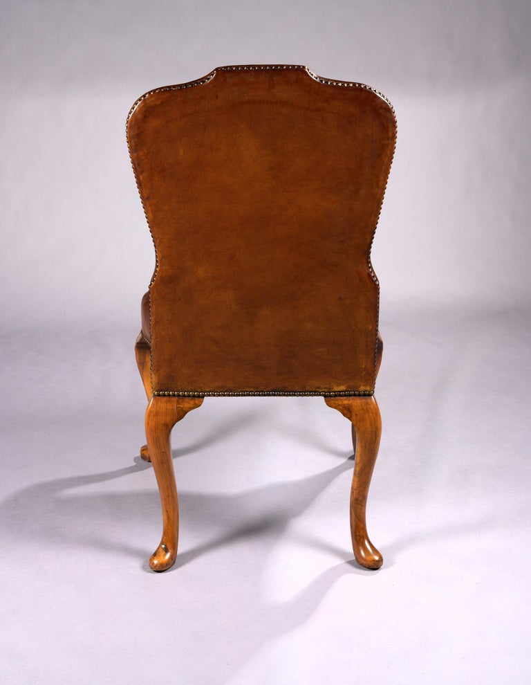Fine Set of 8 '6 & 2' Generously Sized Antique Walnut and Leather Dining Chairs For Sale 5